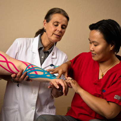 Lymphedema taping on patient